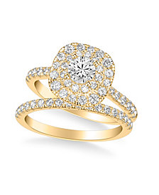 Diamond Halo Bridal Set (1 1/2 ct. t.w.) in 14k White, Yellow or Rose Gold