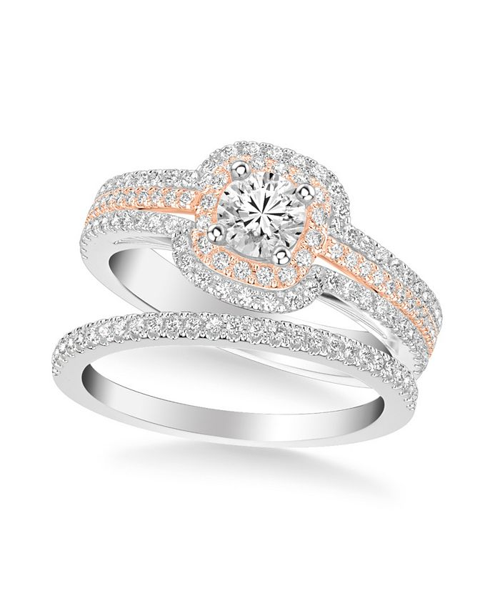 Macy's - Diamond Princess Bridal Set (1 ct. t.w.) in 14k Two Tone White & Rose Gold