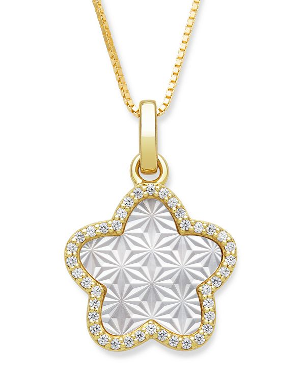 "Macy's Mother of Pearl 13mm and Cubic Zirconia Star Shaped Pendant with 18"" Chain in Gold Over Silver"