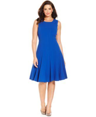 Calvin Klein Plus Size Floral Print Scuba A Line Dress Dresses