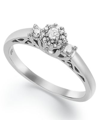 certified round cut diamond engagement ring in sterling silver 15 ct - Sterling Silver Diamond Wedding Rings