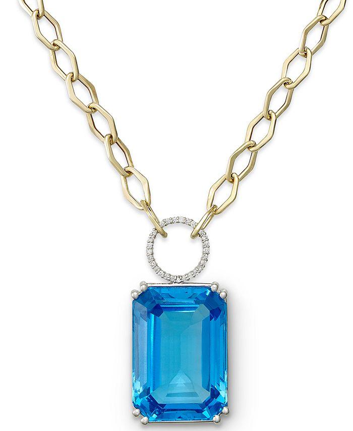 Macy's - 14k Gold Necklace, Blue Topaz (70 ct. t.w.) and Diamond (1/4 ct. t.w.) Pendant