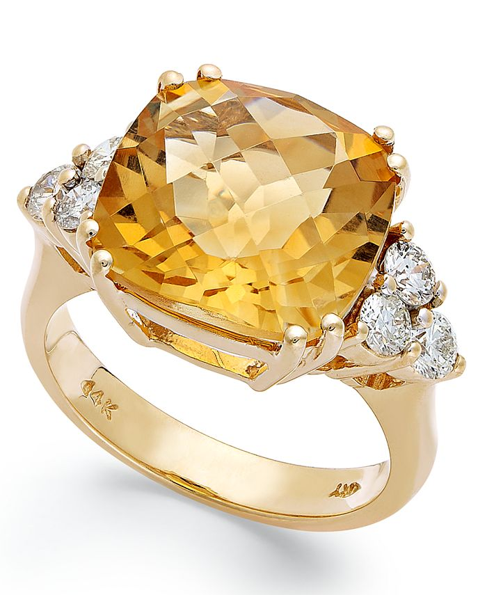 Macy's - 14k Gold Ring, Citrine (7 ct. t.w.) and Diamond (5/8 ct. t.w.) Cushion-Cut Ring