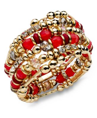 INC International Concepts Bracelet, 14k Gold-Plated Fireberry Bead Coil Bracelet