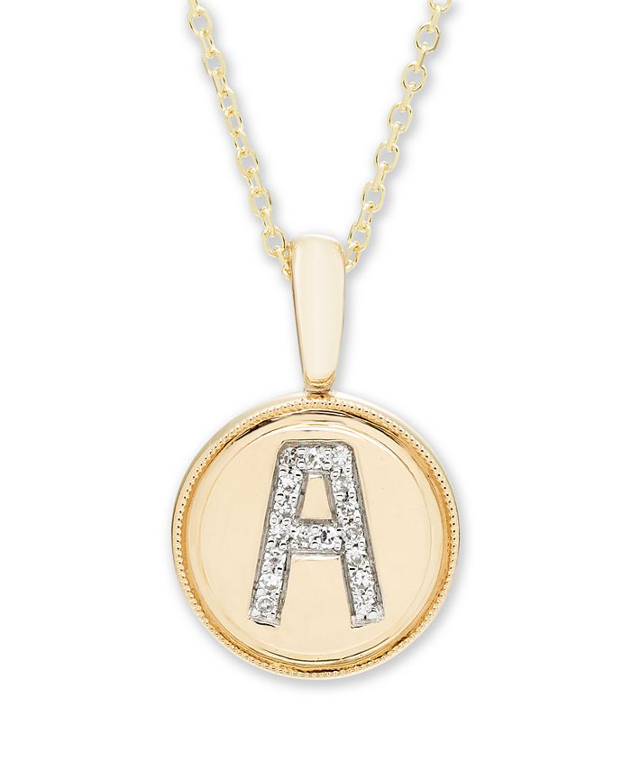 Macy's - Diamond Initial Pendant in 14k Yellow Gold