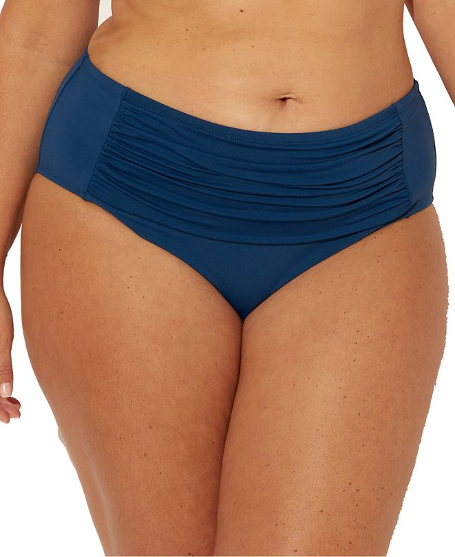 Bleu by Rod Beattie Bleu Rod Beattie Plus Size Shirred Tummy Control Bikini Bottoms