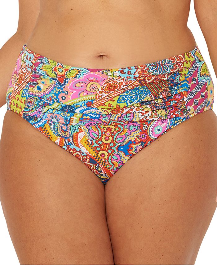 Bleu by Rod Beattie - Plus Size Groovy Baby Printed Ruched Tummy-Control Bikini Bottoms