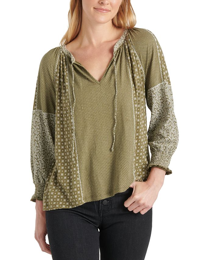 Lucky Brand - Mixed-Print Peasant Top