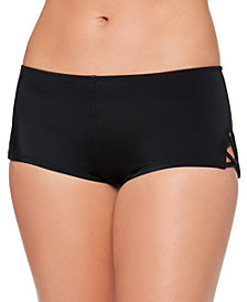 Salt + Cove Juniors' Strappy-Side Swim Boyshorts, Created for Macy's