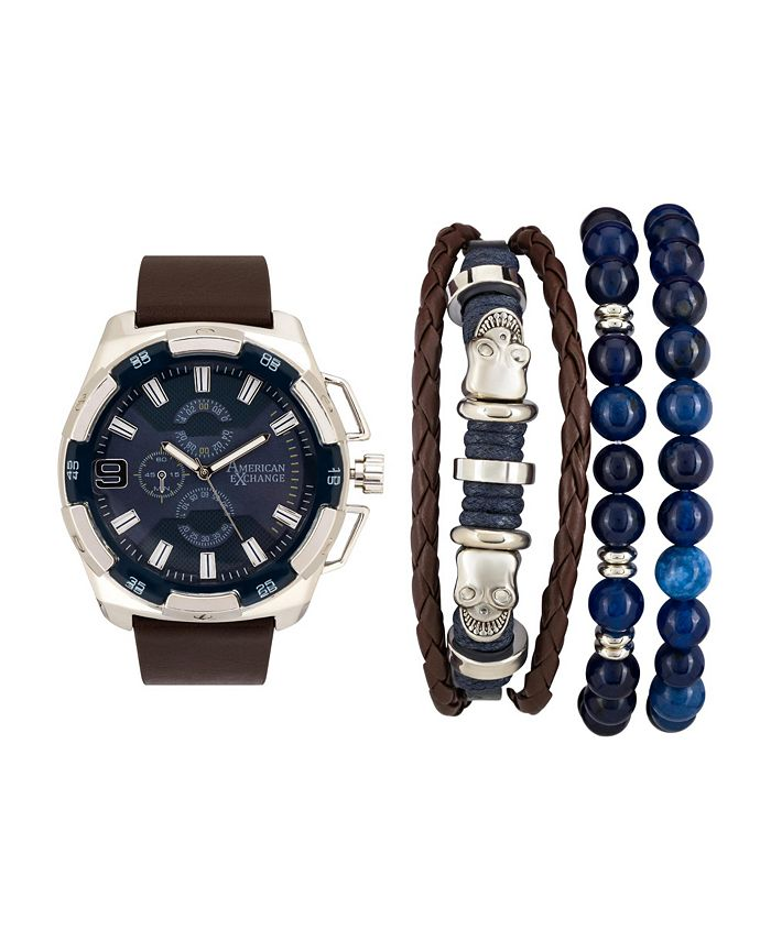 American Exchange - Men's Brown Analog Quartz Watch And Holiday Stackable Gift Set