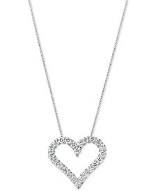 "Certified Diamond Heart Pendant Necklace (1-3/4 ct. t.w.) in 14k White Gold, 16"" + 2"" extender"