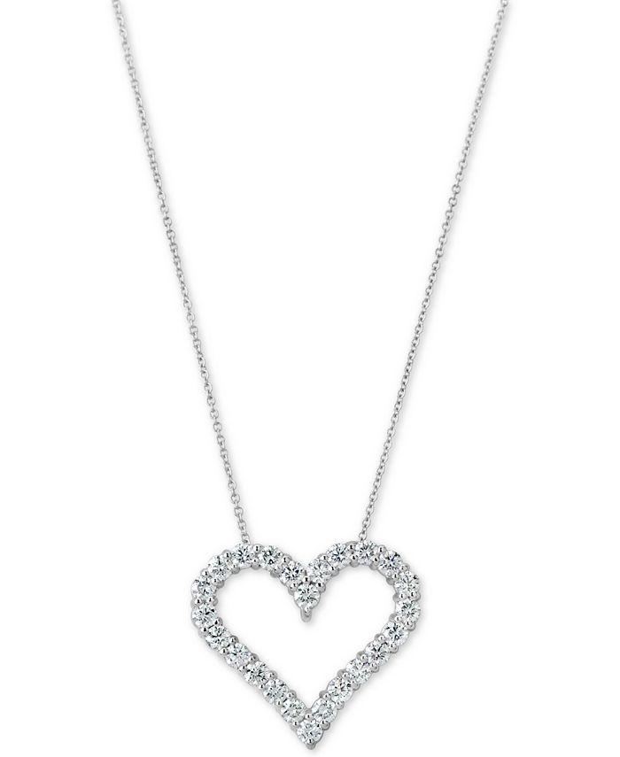 "Macy's - Certified Diamond Heart Pendant Necklace (1-3/4 ct. t.w.) in 14k White Gold, 16"" + 2"" extender"
