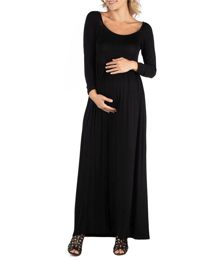 24seven Comfort Apparel Long Sleeve Pleated Maxi Maternity Dress Reviews Dresses Women Macy S