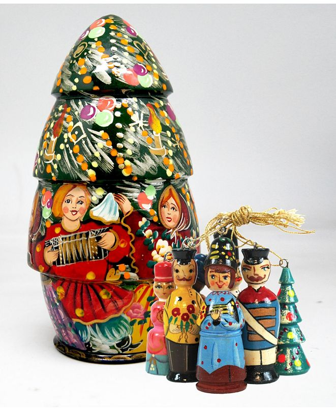 G.DeBrekht Russian Wooden Christmas Tree Doll with 5 Ornaments