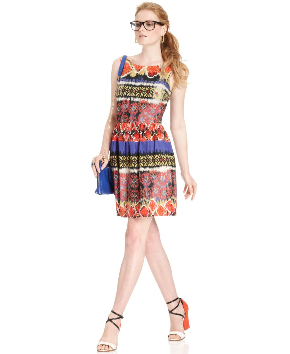 W118 by Walter Baker, Sleeveless Boatneck Printed A Line   Dresses   Women