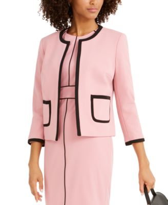 Contrast-Piping Jewel-Neck Jacket