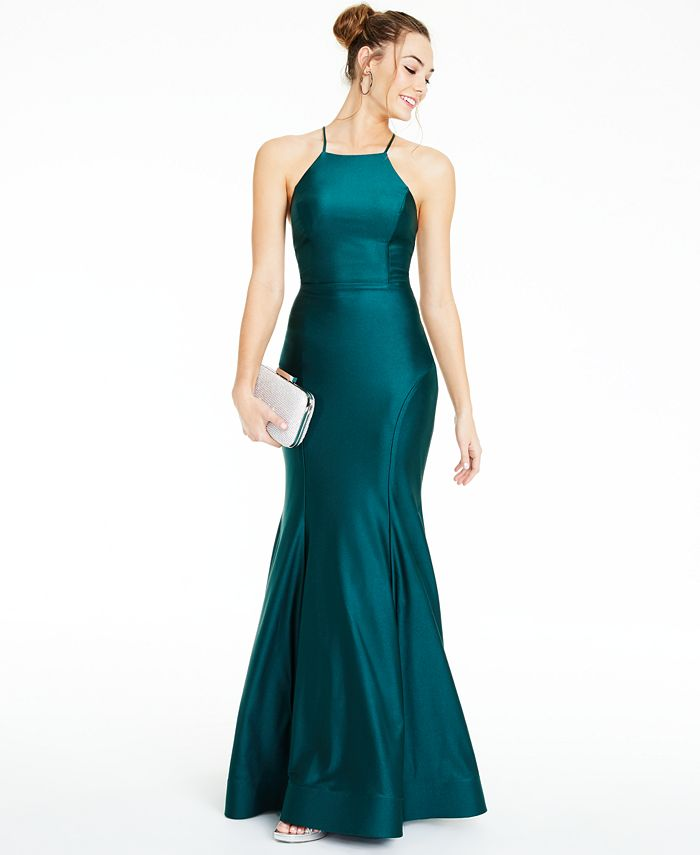 City Studios - Juniors' Strappy-Back Halter Gown