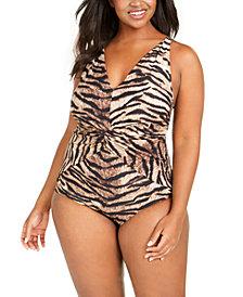 Michael Michael Kors Plus Size Tiger Printed Twist-Front Tummy Control One-Piece Swimsuit