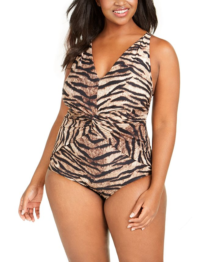 Michael Kors - Plus Size Tiger Printed Twist-Front One-Piece Swimsuit