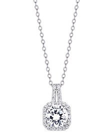 Cubic Zirconia Drop Cushion Pendant Necklace in Fine Silver Plate