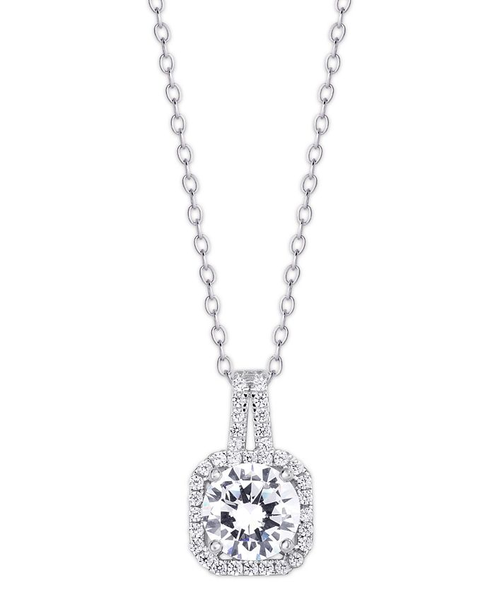 Macy's - Cubic Zirconia Drop Cushion Pendant Necklace in Fine Silver Plate