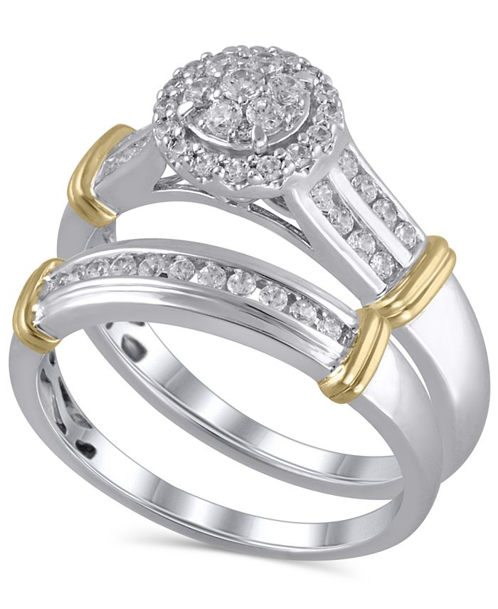 Macy's - Certified Diamond (1/2 ct. t.w.) Bridal Set in 14K White and Yellow Gold