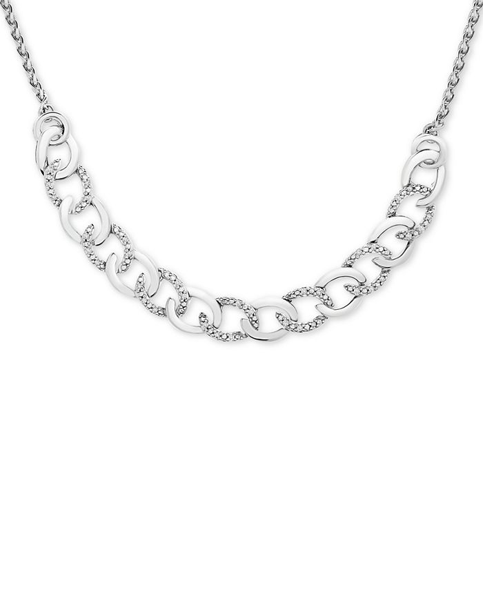 Macy's - Diamond Chain Link Adjustable Bolo Necklace (1/10 ct. t.w.) in Sterling Silver