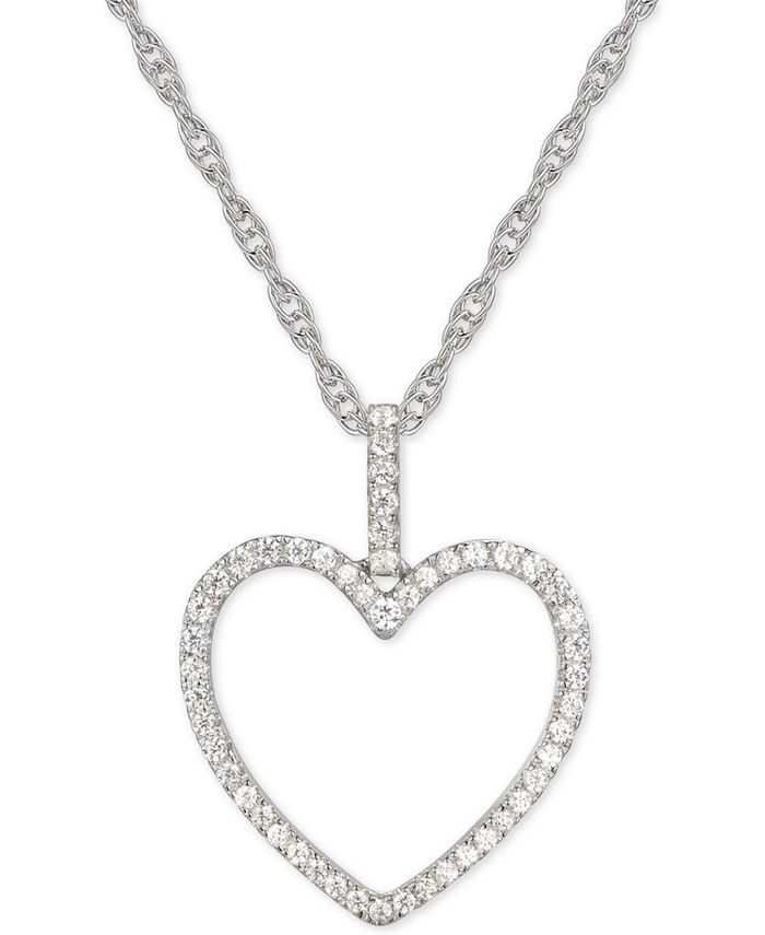 "Macy's - Diamond Heart 18"" Pendant Necklace (1/4 ct. t.w.) in 14k Gold"