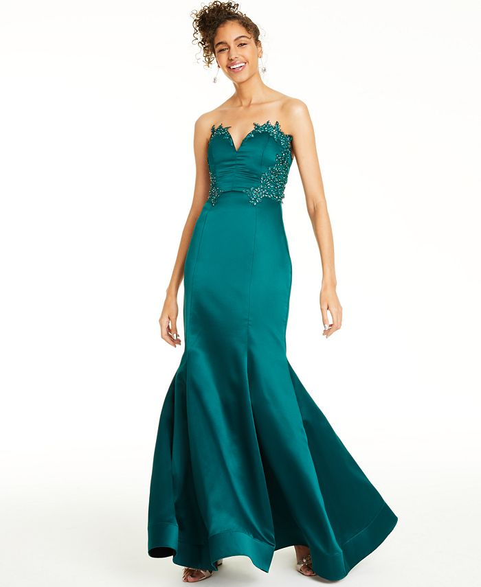 City Studios - Beaded Appliqué-Trim Gown
