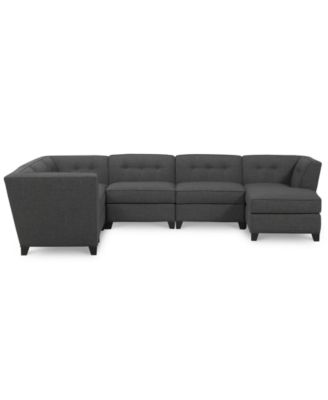 Harper fabric 6 piece modular sectional with chaise for Harper fabric 5 piece modular sectional sofa