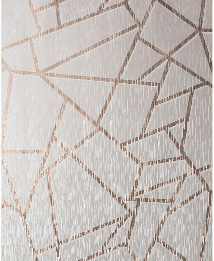 Graham & Brown - Theia Geo American Gold and White Wallpaper