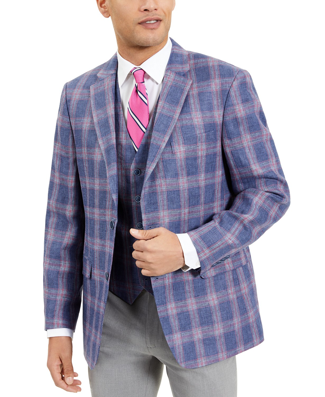 Tommy Hilfiger Men's Modern-Fit TH Flex Stretch Windowpane Plaid Sport Coat (Blue/Red)