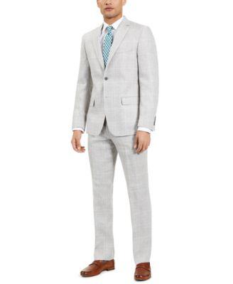 Men's Classic Fit Ultra-Flex Light Grey and Blue Plaid Suit Separate Pants