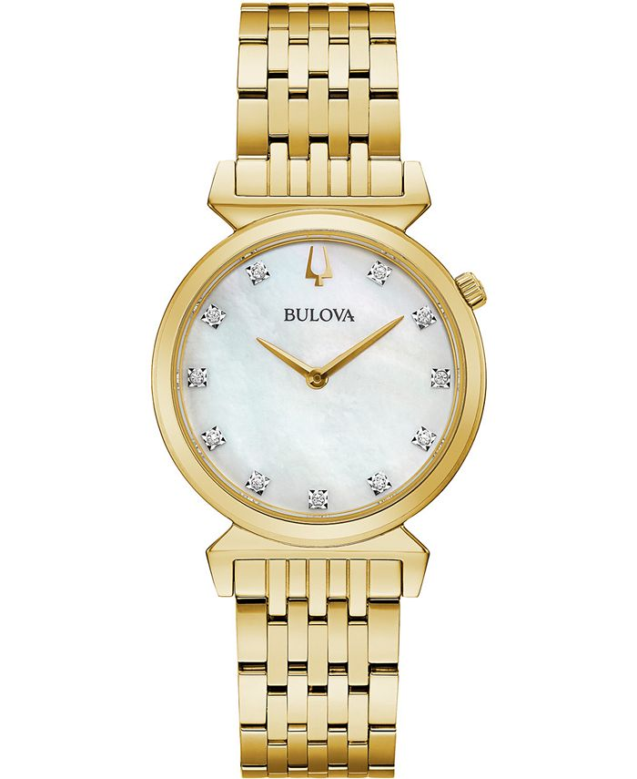 Bulova - Women's Regatta Diamond-Accent Gold-Tone Stainless Steel Bracelet Watch 30mm