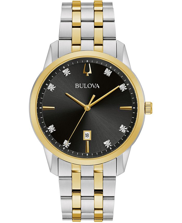 Bulova - Men's Sutton Diamond-Accent Two-Tone Stainless Steel Bracelet Watch 40mm