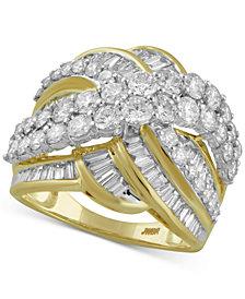 Diamond Crisscross Statement Ring (3 ct. t.w.) in 10k Gold