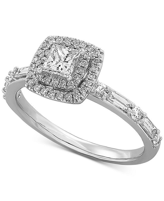 Macy's - Certified Diamond Princess Halo Diamond Engagement Ring (3/4 ct. t.w.) in 14k White Gold