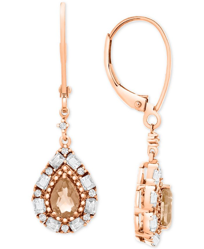 Macy's - Morganite (3/4 ct. t.w.) & White Topaz (3/8 ct. t.w.) Drop Earrings in Rose Gold-Plated Sterling Silver