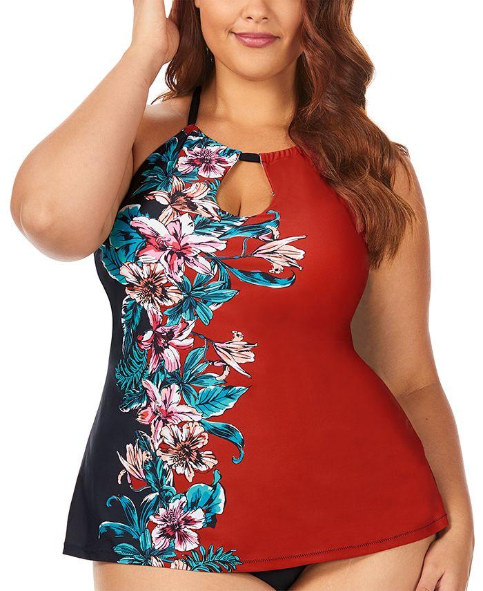 Raisins Curve - Trendy Plus Size Juniors' Flourish Printed Rosalie High-Neck Underwire Tankini Top