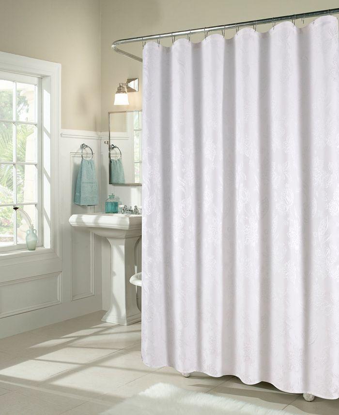 Ellen Tracy - Floral Matelasse Fabric Shower Curtain