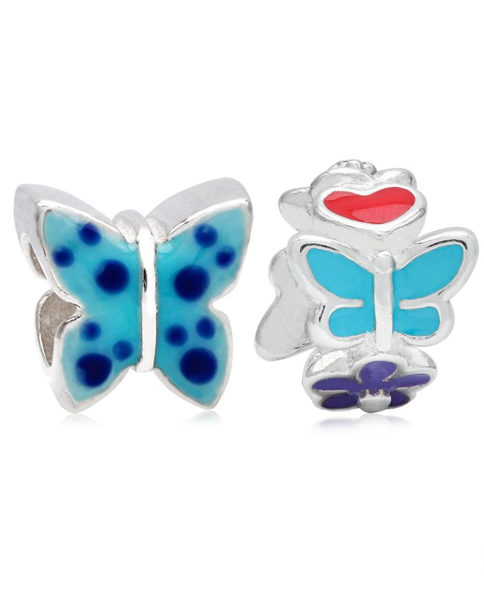 Rhona Sutton - Children's Enamel Butterfly Flowers Bead Charms - Set of 2 in Sterling Silver