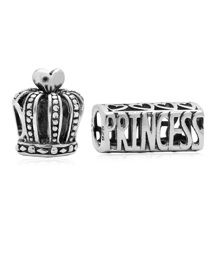 Rhona Sutton - Children's Crown Princess Bead Charms - Set of 2 in Sterling Silver