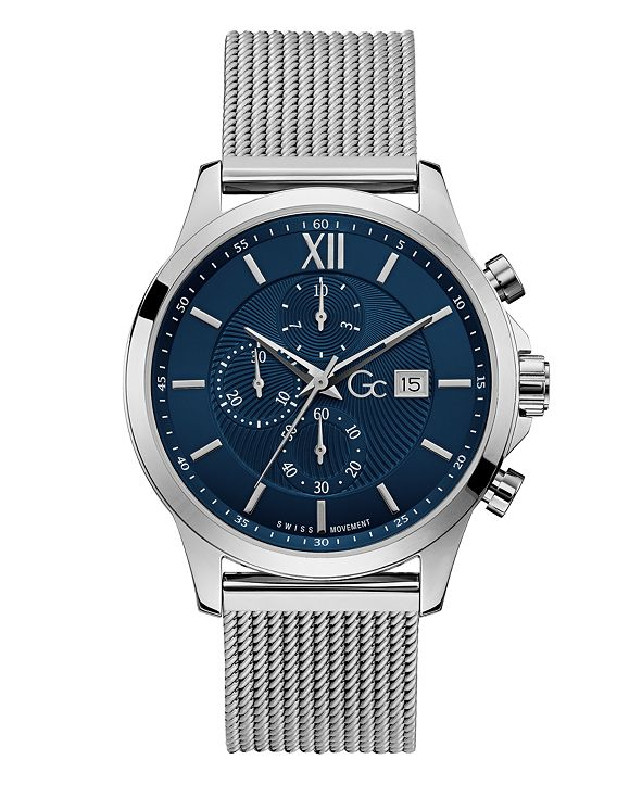 GUESS Gc Men's Executive Chrono Stainless Steel Mesh Bracelet Watch 44mm