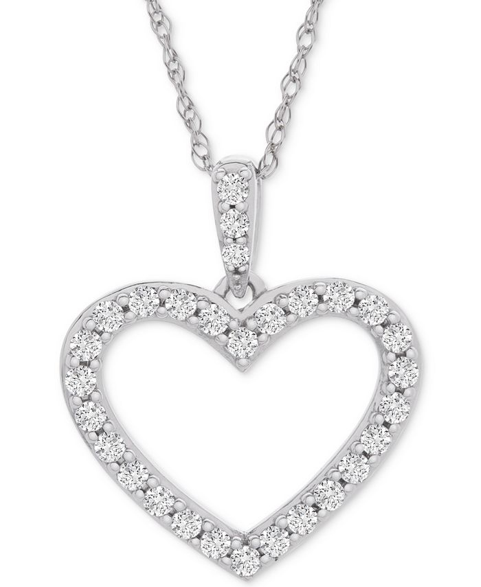 "Macy's - Diamond Heart Pendant Necklace (1/2 ct. t.w.) in 14k White Gold, 18"" + 2"" extender"