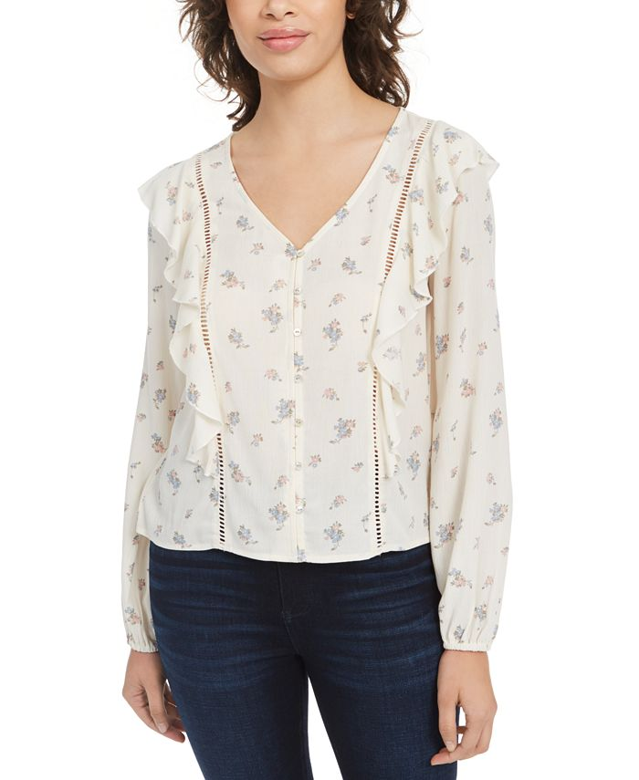 Planet Gold - Juniors' Floral Ruffle Top
