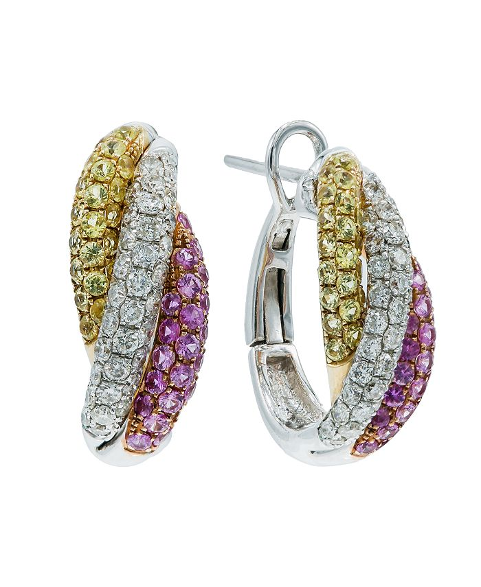 Macy's - Yellow Sapphire (5/8 ct. t.w.) and Pink Sapphire (5/8 ct. t.w.) and Diamonds (5/8  ct. t.w.) Earrings Set in 14k White Gold