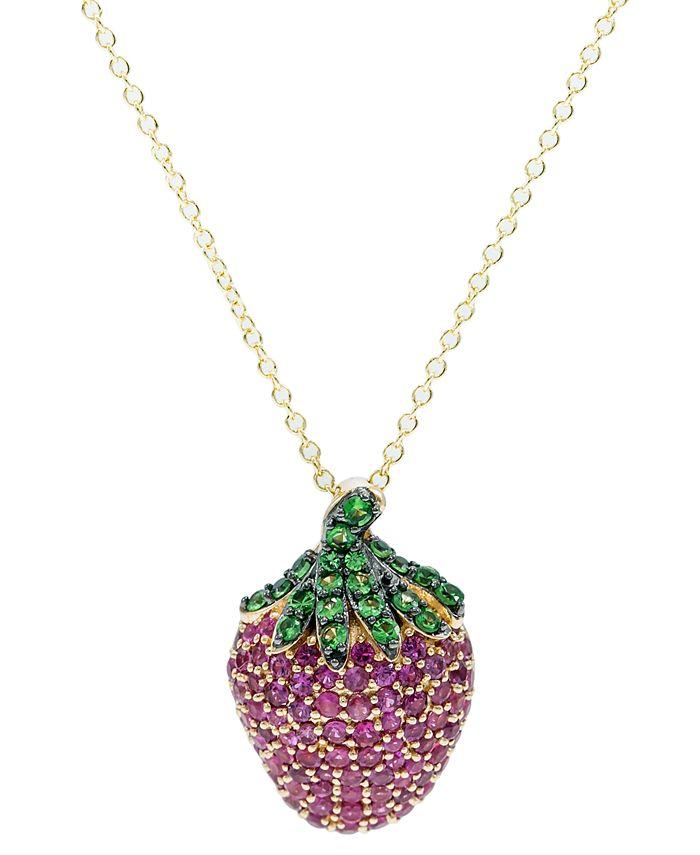 Macy's - Certified Ruby (1-7/8 ct. t.w.), Tsavorite (5/8 ct. t.w.) Pink Sapphire (1/3ct t.w.) Pendant 14K Gold