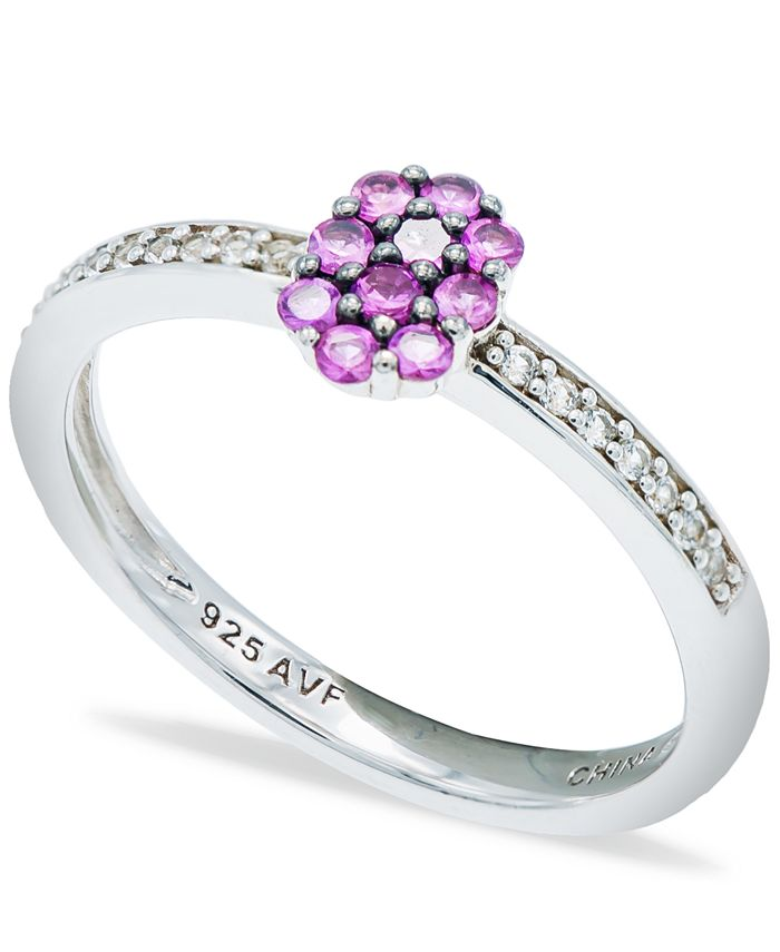 Macy's - Pink Sapphire (1/3 ct. t.w.) Diamond (1/20 ct. t.w.) Stackable Ring  in Sterling Silver