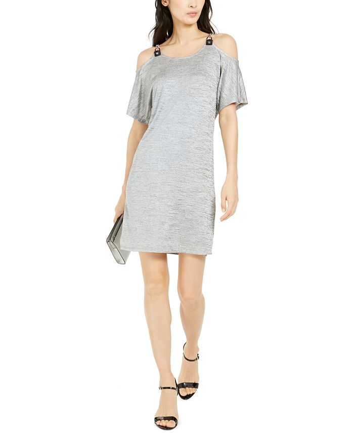 Michael Kors - Metallic Cold-Shoulder Dress