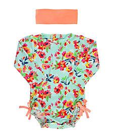 RuffleButts Toddler, Little and Big Girl's Long Sleeve Rash Guard Swimsuit Swim Headband Set